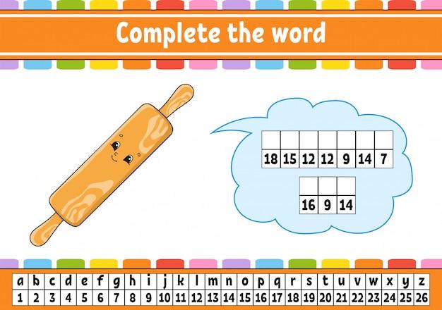 Dokończ słowa. kod szyfrujący. nauka słownictwa i liczb.