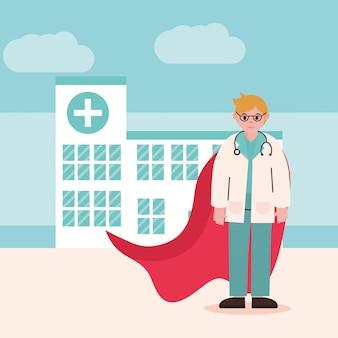 Doktor bohater, lekarz profesjonalista z okulary stetoskop i peleryna