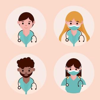 Doktor bohater, lekarze profesjonalny personel medyczny z postaciami stetoskopów