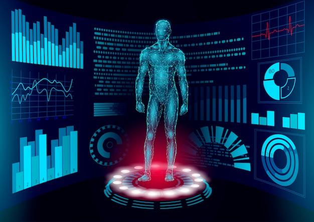 Doktor hud 3d low poly z ludzkim wyświetlaczem online. badanie sieci laboratorium technologii medycznych przyszłości. diagnostyka chorób układu krwionośnego futurystyczny interfejs użytkownika ilustracja