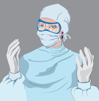 Doktor kobieta wyposażona. wirus pandemia działa na rzecz medycyny. młoda kobieta ubrana w jednorazowy kombinezon z rękawiczkami, maską i okularami ochronnymi