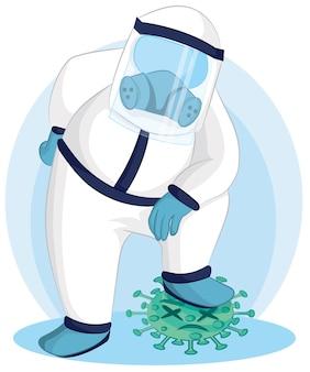 Doktor nadepnął na wirusa koronowego. ilustracja walka z wirusem koronowym. ludzie walczą z koncepcją wirusa.