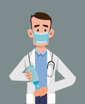 Doktor nosić maskę i dezynfekujące ręce żelem dezynfekującym
