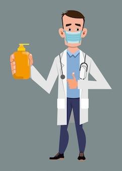 Doktorska jest ubranym maska na twarz i pokazuje alkohol żelową butelkę. ilustracja koncepcja covid-19 lub koronawirusa