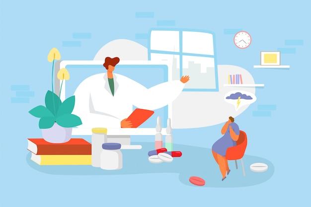 Doktorska konsultacja online ilustracja, postać z kreskówki lekarz doradza, konsultuje małego smutnego kobieta pacjenta, używa wideo aplikację