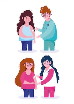 Doktorska pielęgniarka personel pacjenci medyczna opieki zdrowotnej szczepienia ilustracja