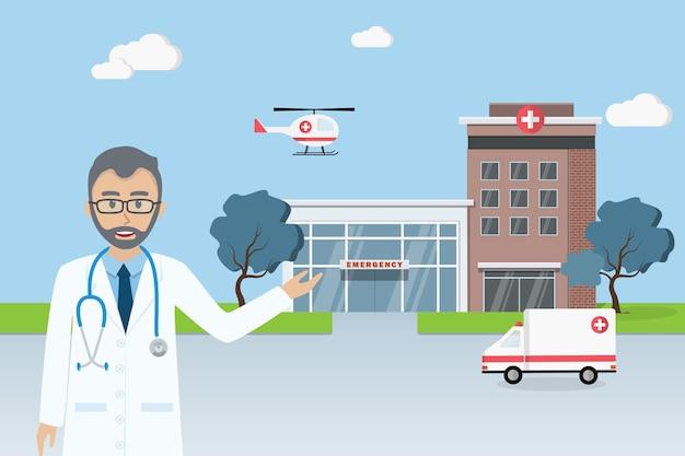 Doktorska pozycja przed miasto szpitala budynkiem