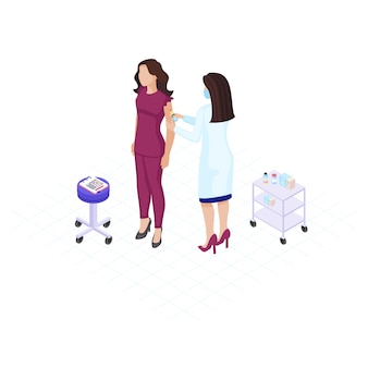 Doktorska robi szczepionka strzelał płaską kolor ilustrację