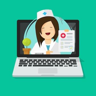 Doktorski konsultujący online przez laptopu jako tele-medycyny ilustracyjnej płaskiej kreskówki nowożytny projekt