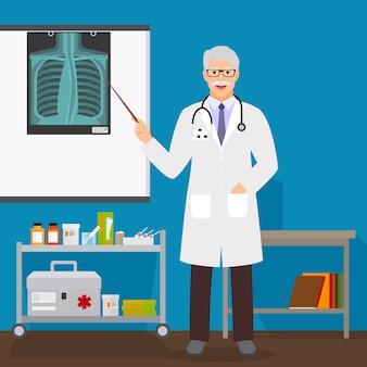 Doktorski mężczyzna z promieniowaniem rentgenowskim na stojaku