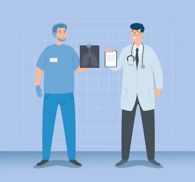 Doktorski samiec z sanitariuszem i rentgenem płuc