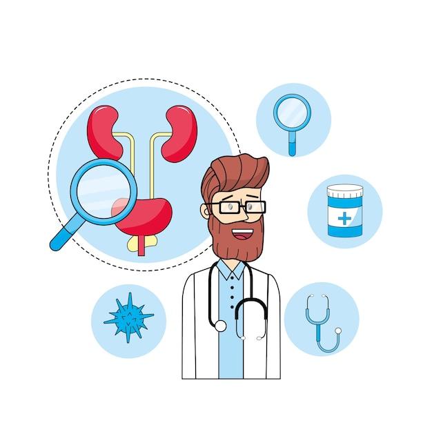 Doktorski stetoskop z mężczyzna zdrowym traktowaniem