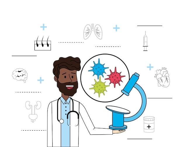 Doktorski Stetoskop Z Mikroskopu Wirusa Traktowaniem Premium Wektorów