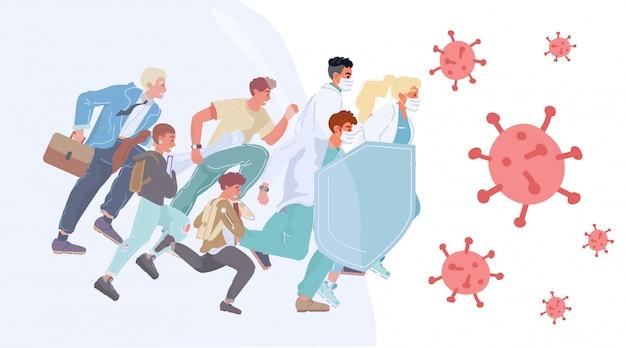 Doktorzy people wspólnie zapewniają ochronę przed wirusami