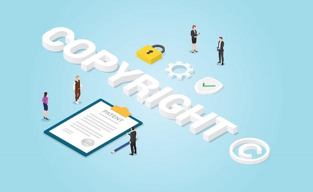 Dokument papierowy opatentowany prawem autorskim lub prawami autorskimi i podpisuje ikonę symbil w nowoczesnym stylu izometrycznym