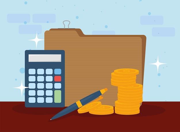 Dokument podatkowy monety długopis i kalkulator