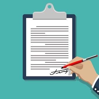 Dokument podpisujący odręczny. mężczyzna pisze na ilustracji dokumentu umowy papierowej.