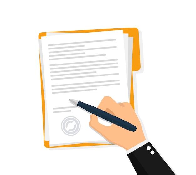 Dokument podpisywania rąk. płaski projekt ilustracji wektorowych