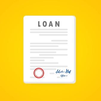 Dokument umowy pożyczki. podpisany dokument umowny z zatwierdzoną pieczęcią. transakcja dotycząca nieruchomości komercyjnych. wektor na na białym tle. eps 10