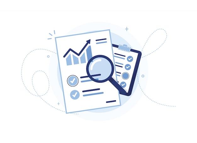 Dokument z harmonogramem sprzedaży. statystyki, wzrost. arkusz raportu. schowek z wykonaną pracą. strona, lista rzeczy do zrobienia. analiza zysków. lupa. znacznik wyboru. niebieski