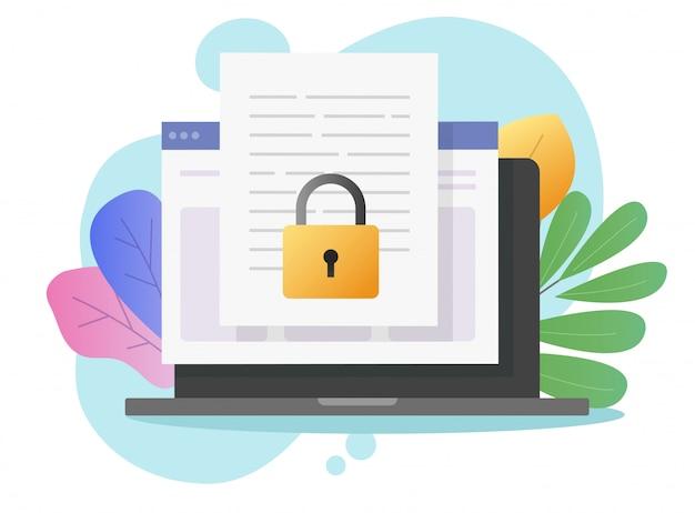 Dokumentuj bezpieczny poufny dostęp online na laptopie komputerowym