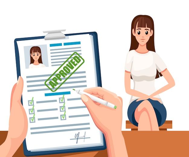 Dokumenty aplikacyjne z zatwierdzoną pieczęcią. zaakceptowano aplikację lub wznowić. formularz papierowy z polami wyboru i zdjęciem. postać z kreskówki . ilustracja na białym tle