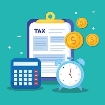 Dokumenty dnia podatkowego w schowku z budzikiem i ilustracją kalkulatora