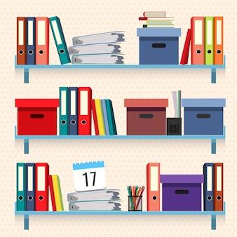 Dokumenty i foldery na półkach zestaw ilustracji wektorowych na białym tle. koncepcja formalności, pliki z danymi w podręcznikach ułożonych w stos