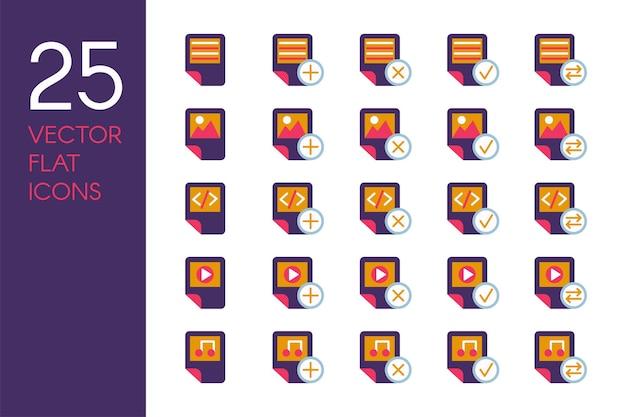 Dokumenty i pliki płaskie wektor zestaw ikon. przechowywanie danych, elementy pulpitu czerwone i żółte piktogramy