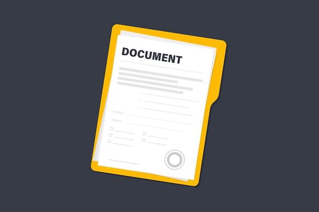 Dokumenty kontraktowe. dokument. folder z pieczęcią i tekstem. stos dokumentów umów z podpisem i pieczęcią zatwierdzającą. dokumenty umowy. koncepcja dokumentacji biznesowej, płaska ilustracja