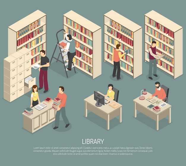 Dokumenty library archive interior isometric illustration