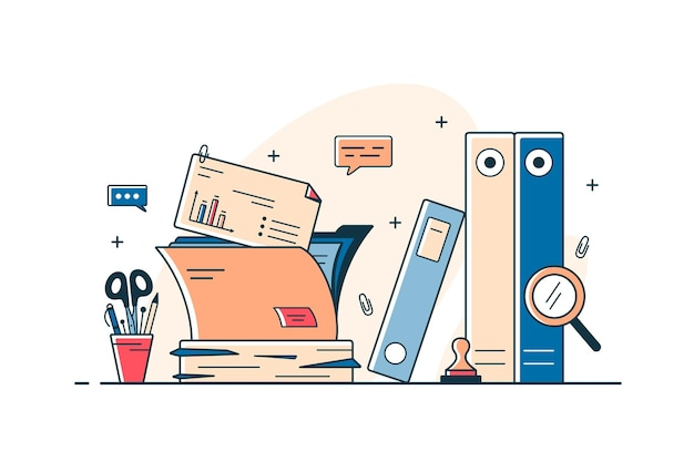 Dokumenty papierowe i teczki na akta