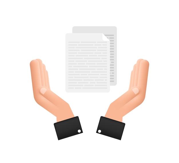 Dokumenty papiery w stylu płaski w rękach. projekt wektor. ikona biznesu. płaska konstrukcja.