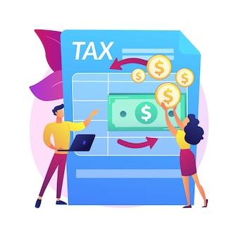 Dokumenty podatkowe. dokument dotyczący rachunku zysków i strat. proces transakcji pieniężnej. konsultacje księgowe. księgowość, płatność faktur, analiza finansowa. ilustracja koncepcja na białym tle