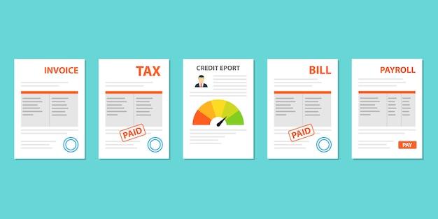 Dokumenty podatkowe, faktury, rachunki, listy płac ustawione w stylu płaskim