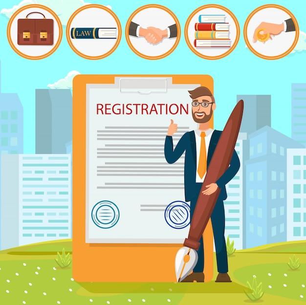 Dokumenty rejestracyjne stawia podpis pieczęć płaska.