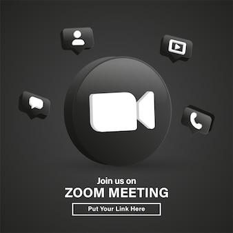 Dołącz do nas na spotkaniu zoom 3d logo w nowoczesnym czarnym kółku dla ikon mediów społecznościowych lub dołącz do nas baner