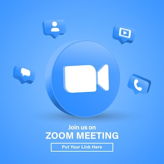 Dołącz do nas na spotkaniu zoom 3d logo w nowoczesnym kręgu dla ikon mediów społecznościowych lub dołącz do nas baner