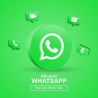 Dołącz do nas na whatsapp z logo 3d w nowoczesnym kręgu, aby uzyskać logo ikon mediów społecznościowych lub śledź nas baner