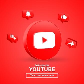 Dołącz do nas na youtube z logo 3d w nowoczesnym kręgu, aby uzyskać logo ikon mediów społecznościowych lub śledź nas baner