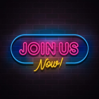 Dołącz do nas realistyczny neon