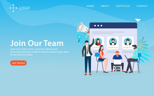 Dołącz do naszego zespołu, szablon strony internetowej, warstwowy, łatwy do edycji i dostosowywania, koncepcja ilustracji
