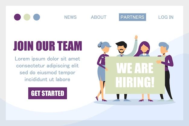 Dołącz do naszego zespołu, wynajmujemy banner na szablon strony internetowej. zespół firmy wita nowego pracownika na białym tle. zabawna osoba z wiadomością.