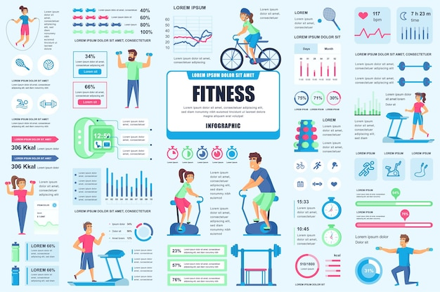 Dołącz elementy infografiki fitness i sportowej ui, ux, kit
