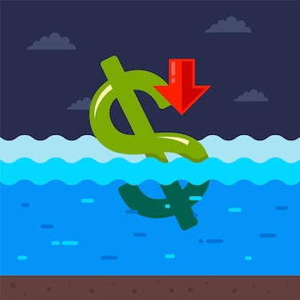Dolar tonie w wodzie. kryzys gospodarczy w usa spowodowany pandemią koronawirusa.