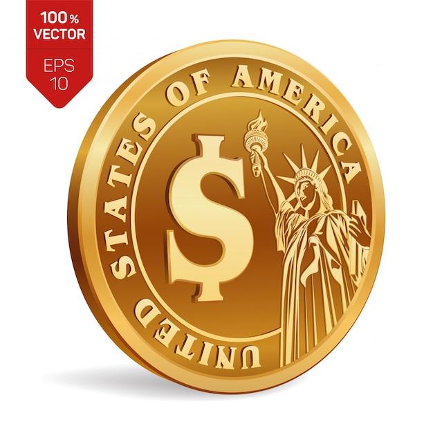 Dolarowa moneta. 3d fizyczne złote monety z wizerunkiem statuy wolności na białym tle.