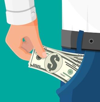 Dolarowe banknoty w kieszeni. ręka pełna gotówki w kieszeni. wzrost, dochód, oszczędności, inwestycje. symbol bogactwa. sukces w interesach. ilustracja wektorowa płaski.
