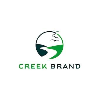 Dolina logo creek rzeka okrągły