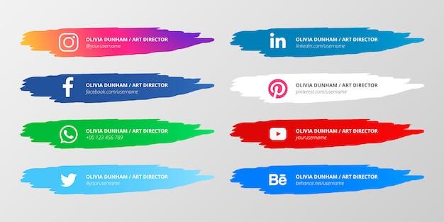 Dolna trzecia kolekcja mediów społecznościowych z plamami farby
