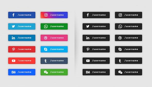 Dolna trzecia kolekcja w stylu przycisków mediów społecznościowych